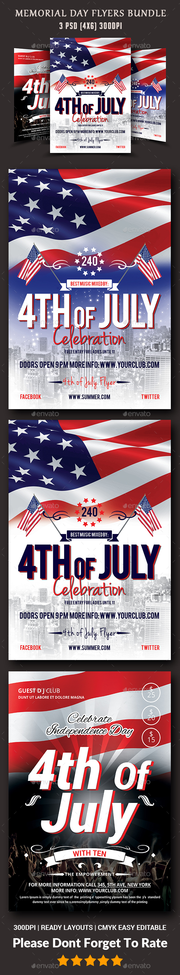 4th of July Flyers Bundle Templates - Events Flyers