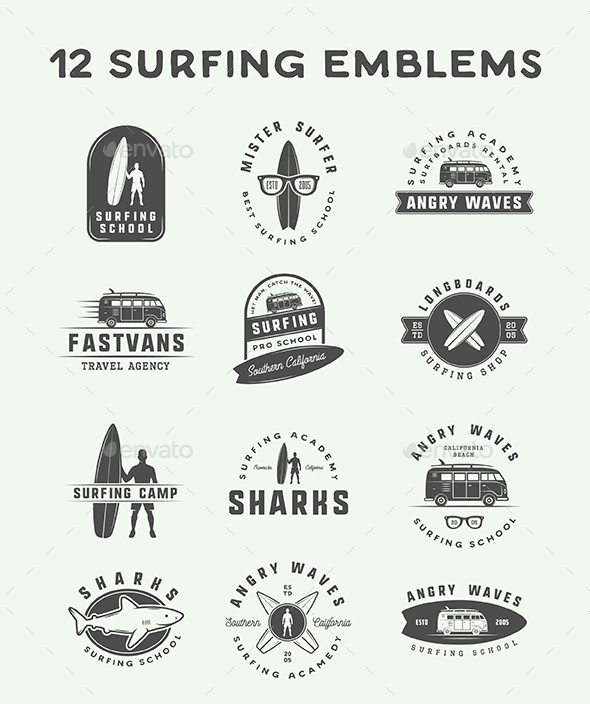 12 Surfing Emblems - Badges & Stickers Web Elements