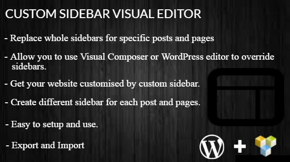 Custom Sidebar Visual Editor WordPress Plugin - CodeCanyon Item for Sale