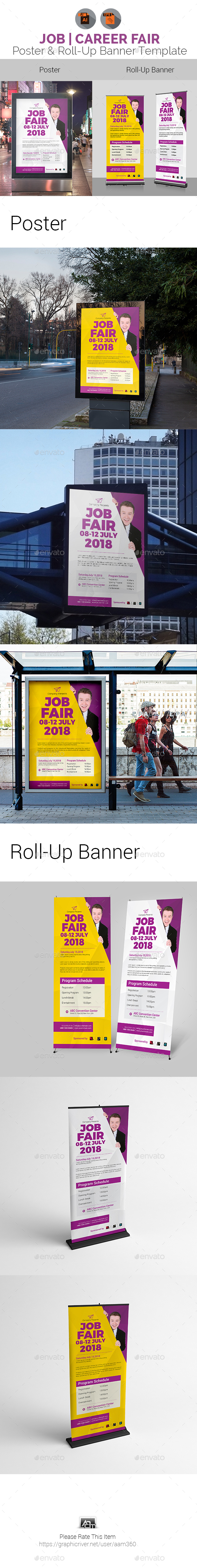 Job Fair Poster & Roll-Up Banner Template - Signage Print Templates