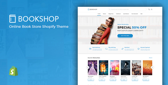 Shopify Ebook Theme  – Bookshop Digital Download Product Shopify Template