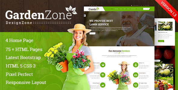 GardenZone: Gardening For Flowers, Fruits, Vegetable Planting & Landscaping Responsive Template - Site Templates