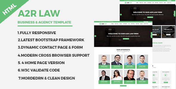 A2RLAW – Business and Agency Responsive HTML Template