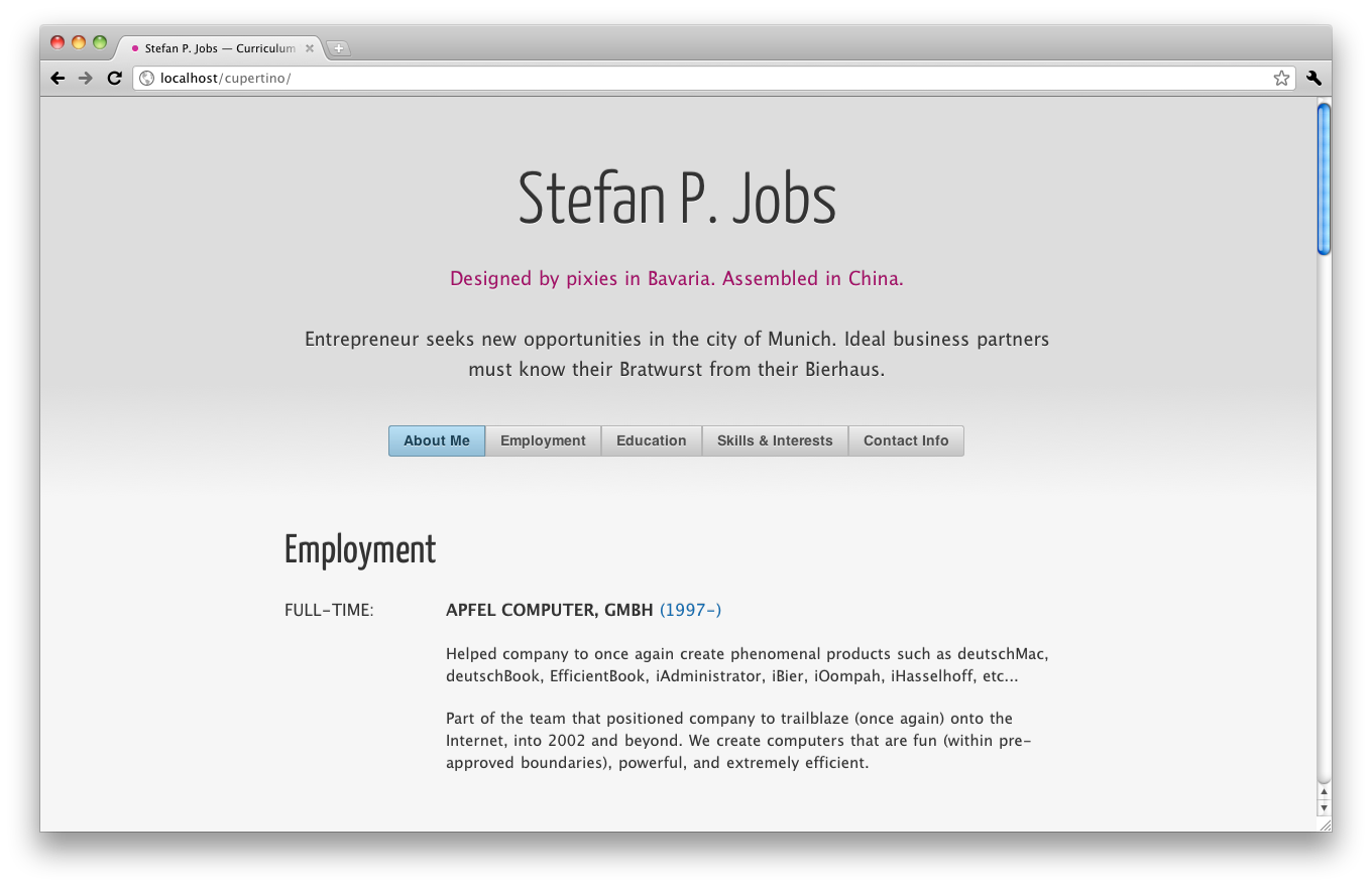 cupertino cv resume one page html template
