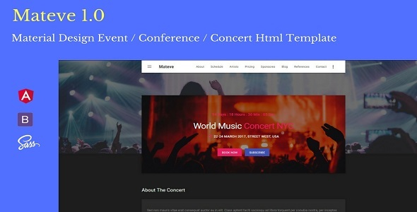 Mateve – Material Design Event / Conference / Concert HTML Template