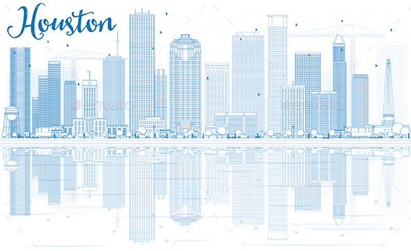 Outline Houston Skyline with Blue Buildings and Reflections - Buildings Objects