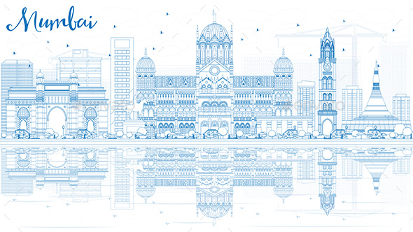 Outline Mumbai Skyline with Blue Landmarks and Reflections - Buildings Objects
