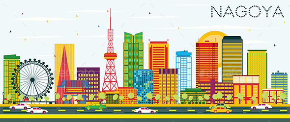 Nagoya Skyline with Color Buildings and Blue Sky - Buildings Objects