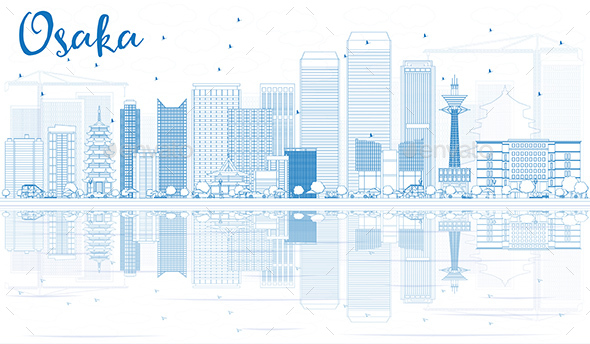 Outline Osaka Skyline with Blue Buildings and Reflections - Buildings Objects