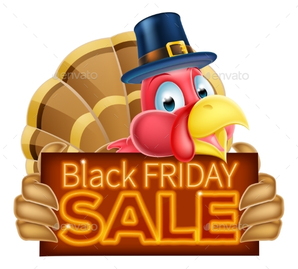 Thanksgiving Turkey Black Friday Sale Sign - Miscellaneous Vectors