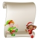 Christmas Elf Cartoon Characters Scroll Sign