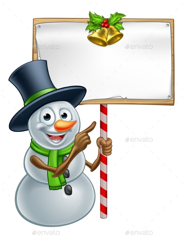 Christmas Snowman Holding Sign - Miscellaneous Vectors