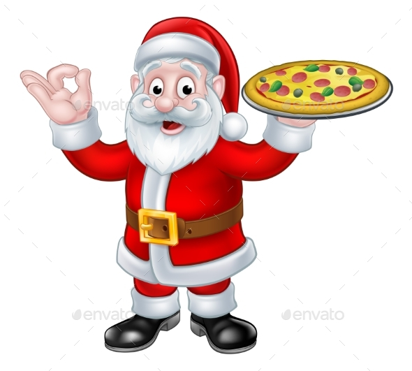 Santa Claus Pizza Christmas Cartoon Character - Food Objects