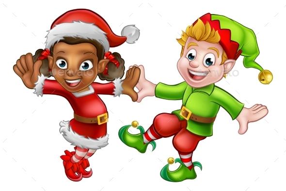 Dancing Christmas Elves - People Characters