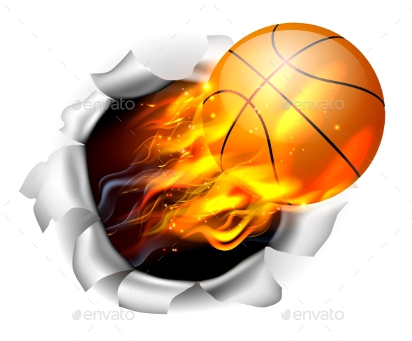 Flaming Basketball Tearing a Hole - Sports/Activity Conceptual
