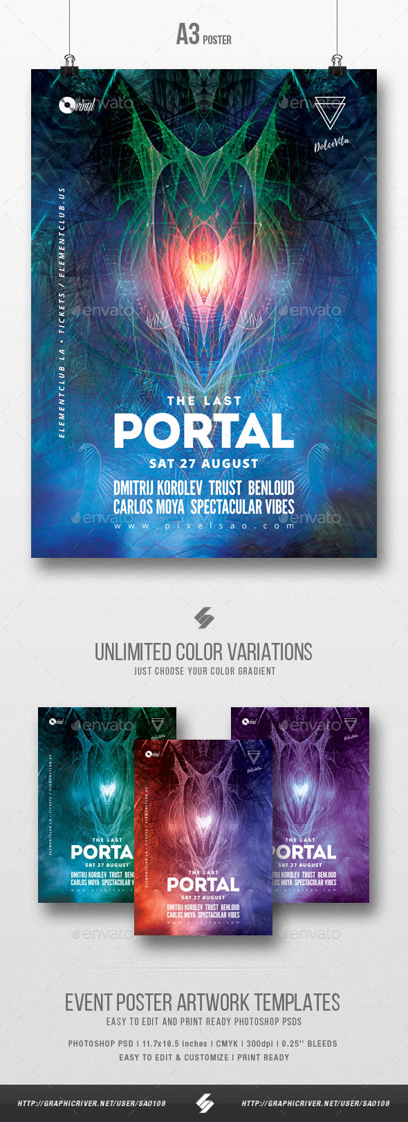 The Last Portal - Trance Party Flyer / Poster Template A3 - Clubs & Parties Events