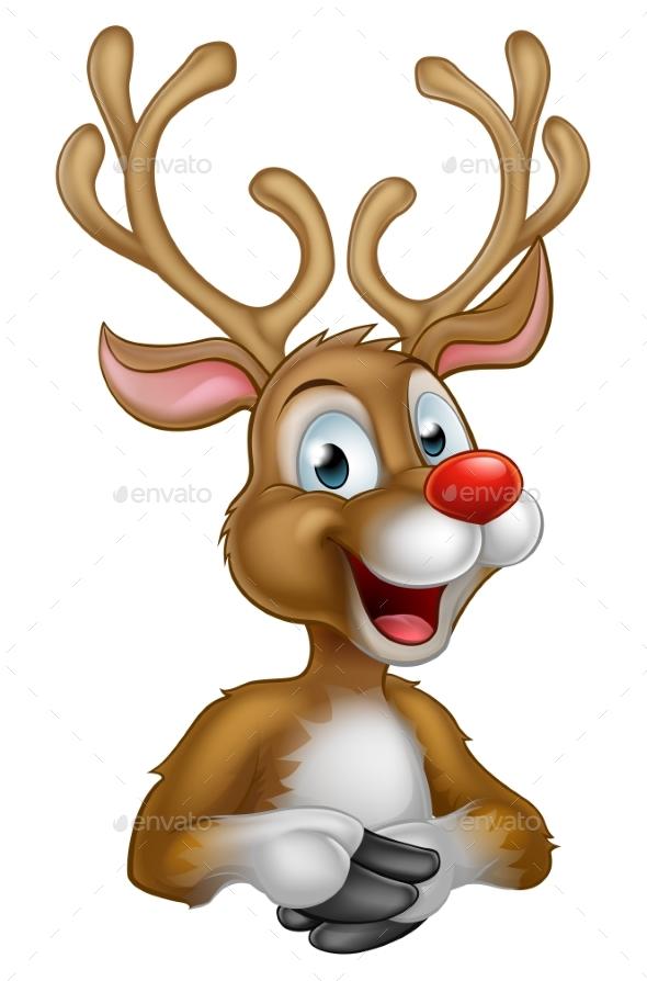 Cartoon Christmas Reindeer - Christmas Seasons/Holidays