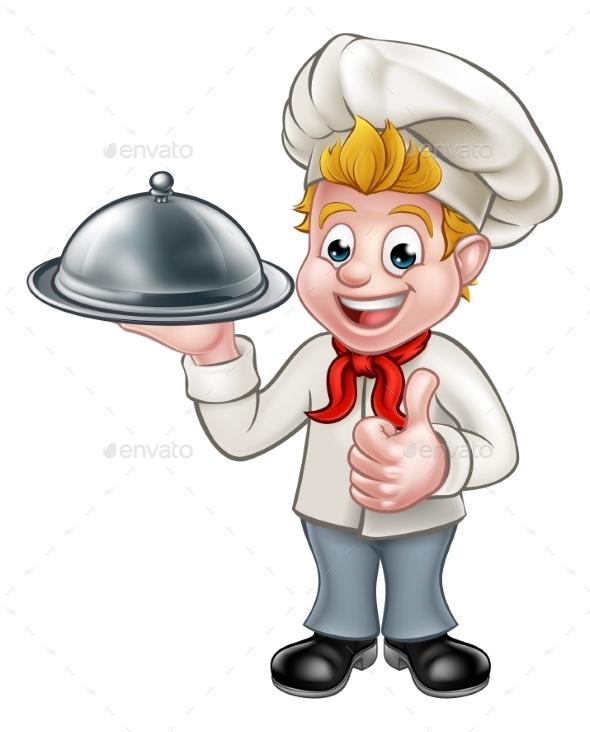 Chef Cartoon Character Mascot - Food Objects