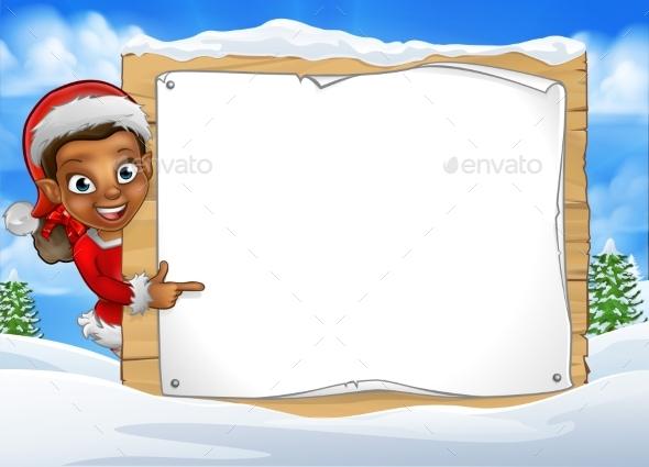 Christmas Elf Snow Scene Landscape Sign - Miscellaneous Vectors