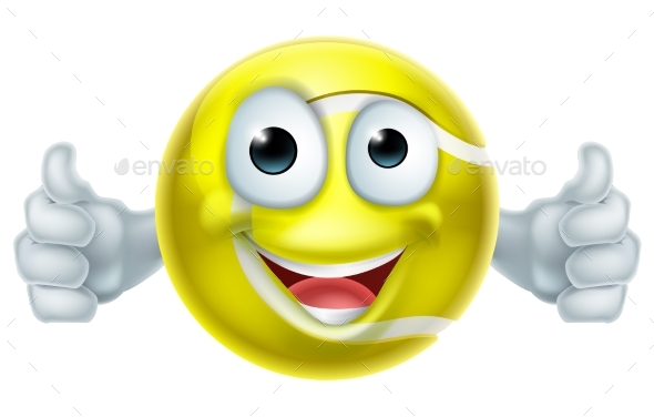 Cartoon Tennis Ball Thumbs Up Man Character - Miscellaneous Characters