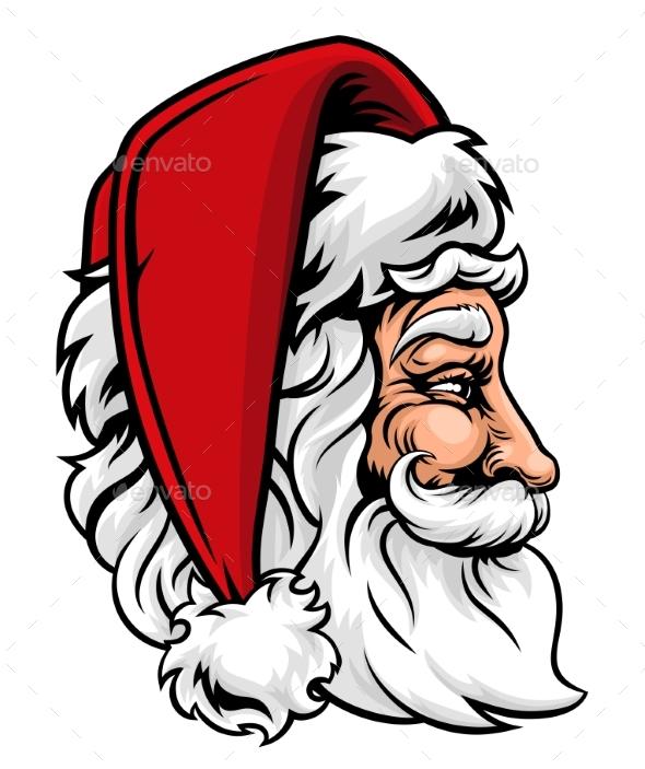 Christmas Santa Claus in Profile - Christmas Seasons/Holidays