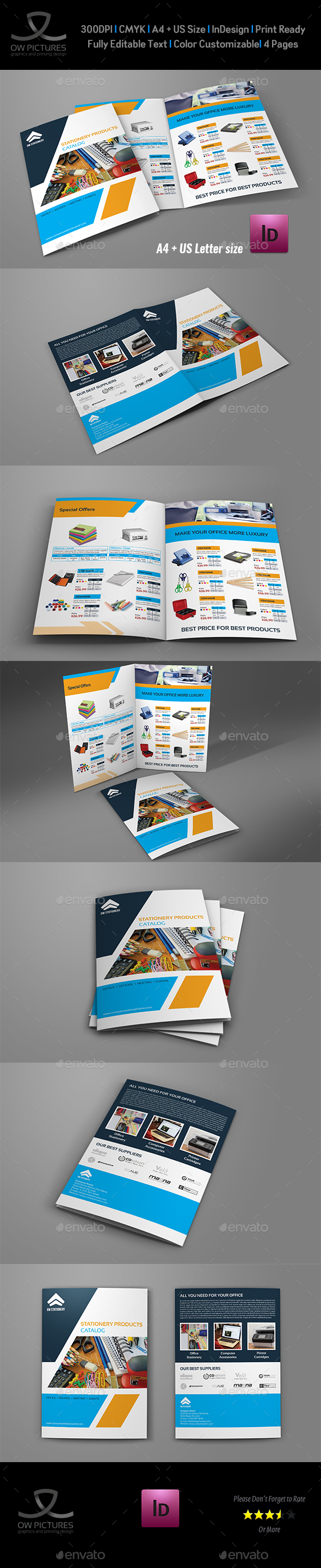 Stationery Products Catalog Bi- Fold Brochure Template - Catalogs Brochures