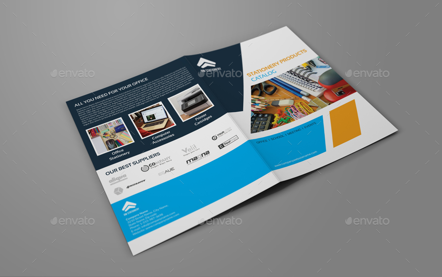Stationery Products Catalog Bi Fold Brochure Template By Owpictures
