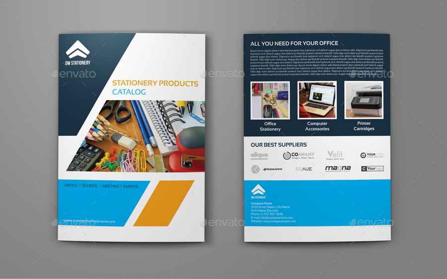 Stationery Products Catalog Bi- Fold Brochure Template By Owpictures