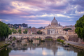 Scenic view of colorful sunrise over St Peters basilica in Rome - PhotoDune Item for Sale