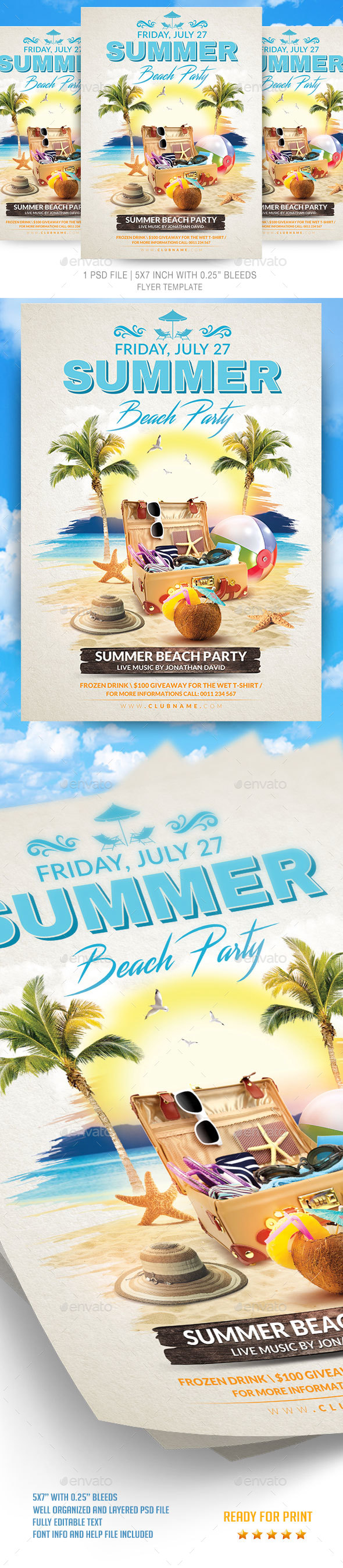 Summer Beach Party Flyer Template - Events Flyers