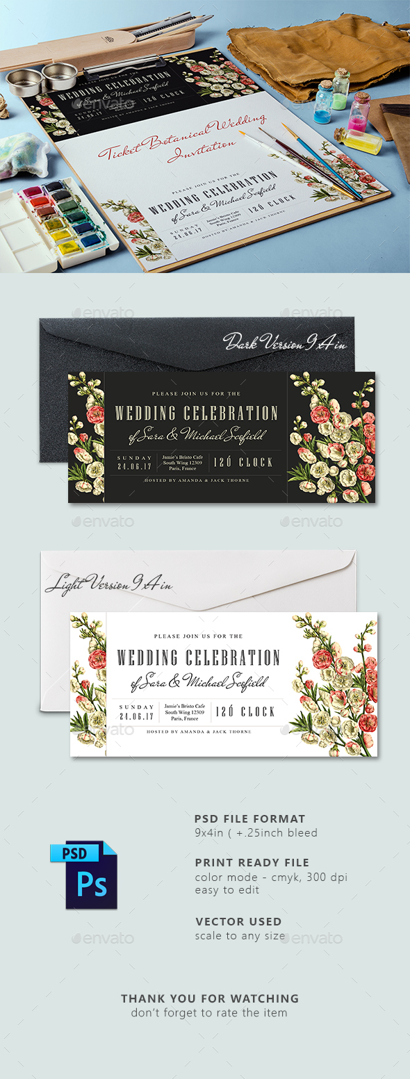 Ticket Botanical Wedding Invitation Card