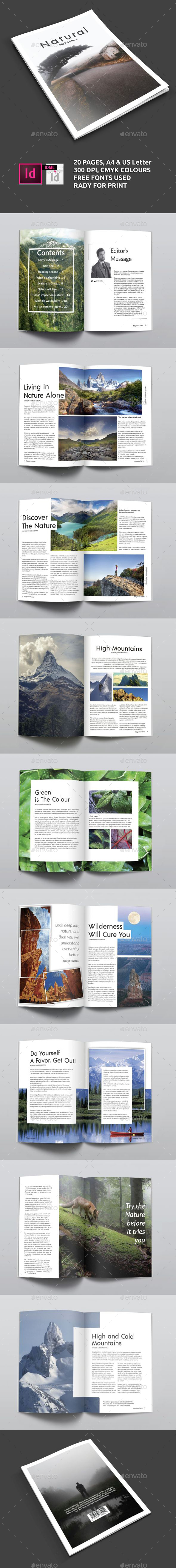 Clean Natural Magazine Template A4/US letter - Magazines Print Templates
