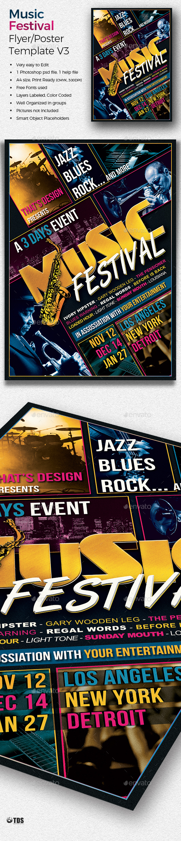 Music Festival Flyer Template V3 - Concerts Events