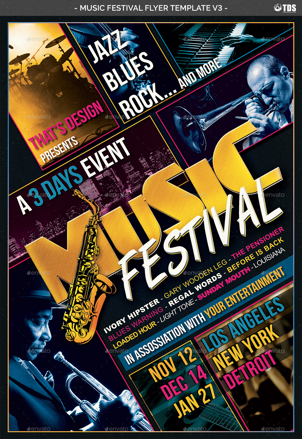 music festival flyer template v3 by lou606