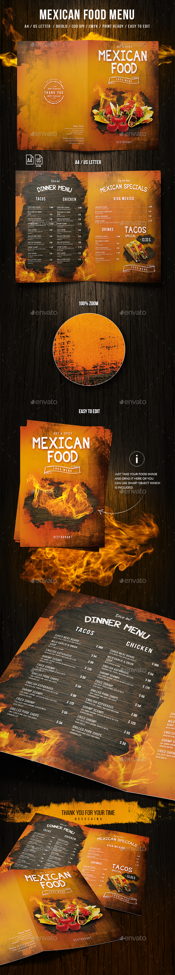 Mexican A4 and US Letter Food Menu - Food Menus Print Templates