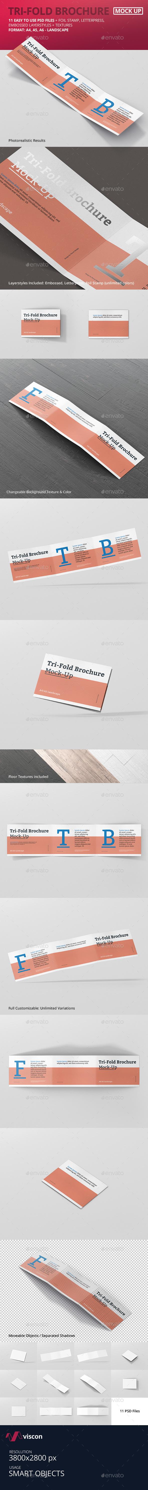 Tri-Fold Brochure Mockup - Din A4 A5 A6 Landscape - Brochures Print