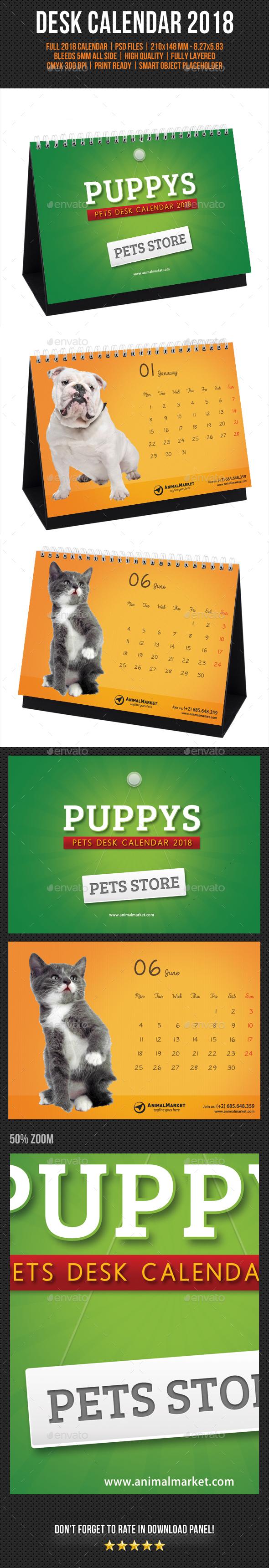 Pet Shop Desk Calendar 2018 - Calendars Stationery