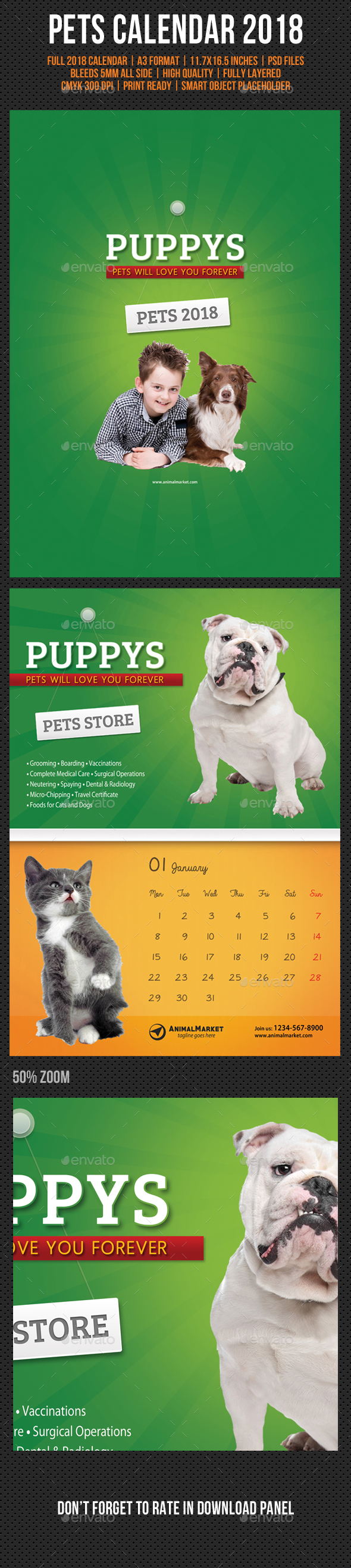 Pet Shop Wall Calendar 2018 - Calendars Stationery