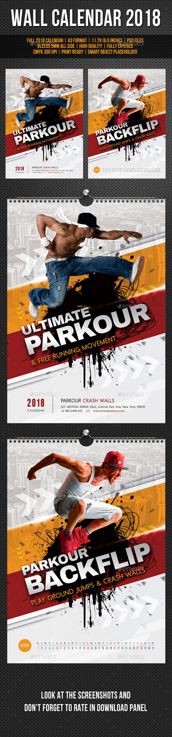 Ultimate Parkour Wall Calendar A3 2018