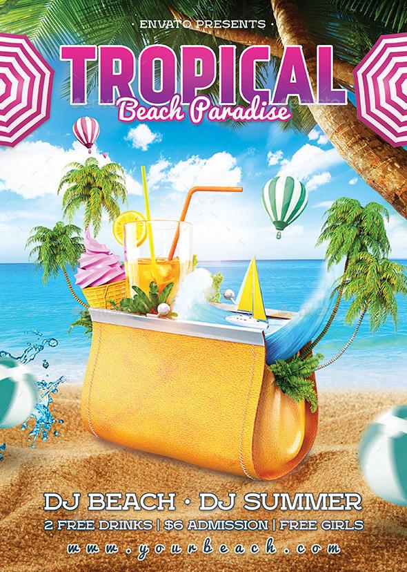 Tropical Beach Flyer - Holidays Events