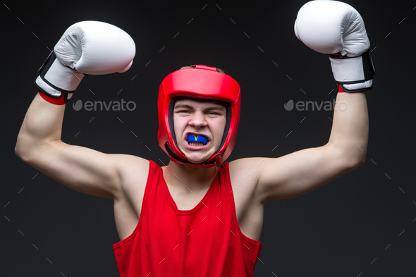 Young boxer winner - Stock Photo - Images