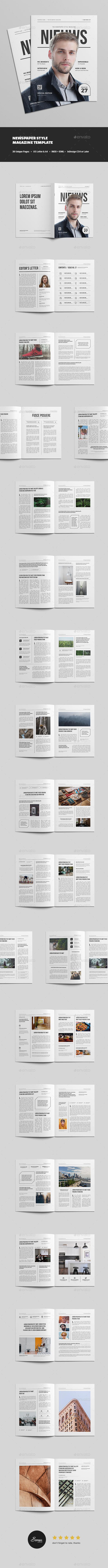 Newspaper Style Magazine - Magazines Print Templates