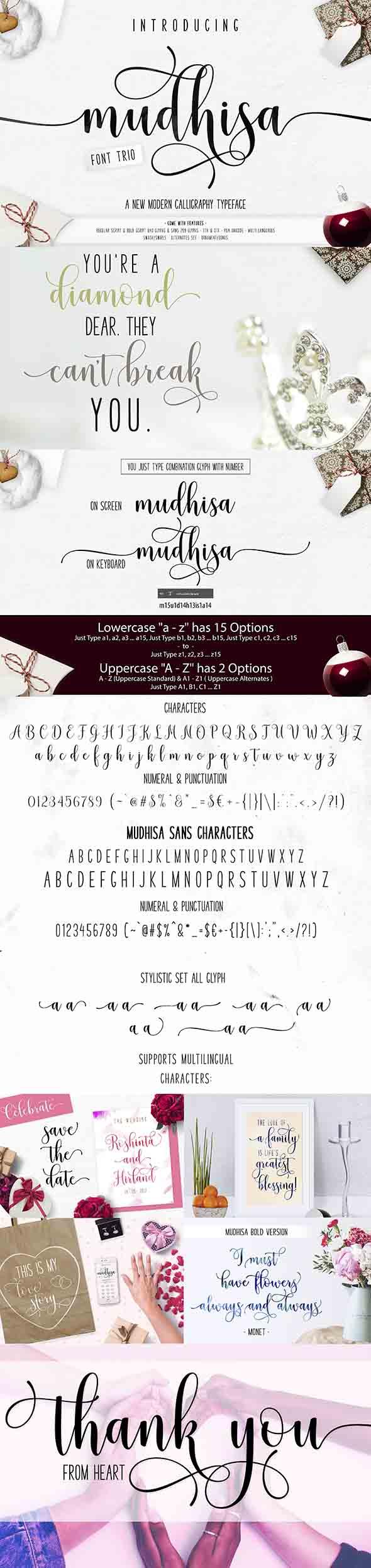 Mudhisa Script Font Trio - Script Fonts