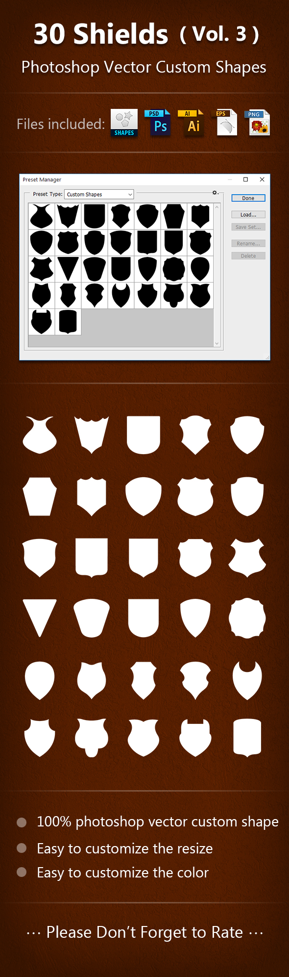 30 Shields Photoshop Vector Custom Shapes ( Vol.3 ) - Add-ons