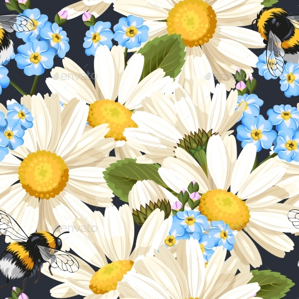 Camomile Seamless Pattern - Flowers & Plants Nature