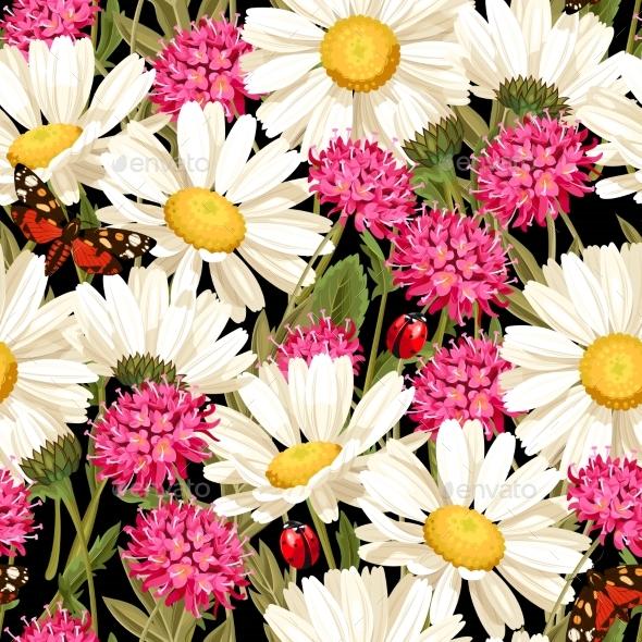 Meadow Flowers Seamless Pattern - Flowers & Plants Nature