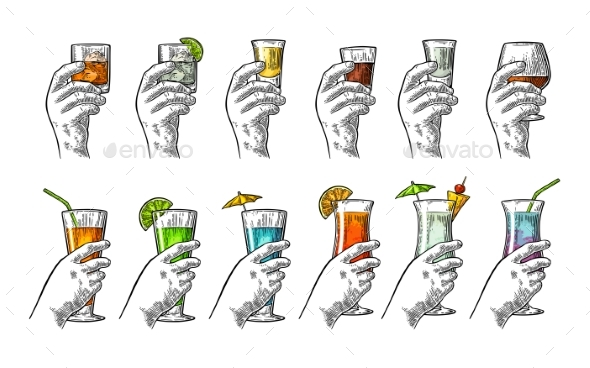 Hand Holding Glass of Alcohol - Food Objects