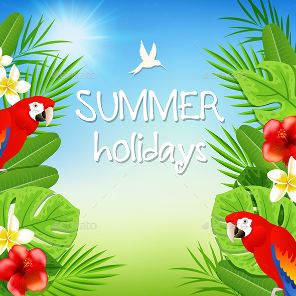 Tropical Background with Parrots - Animals Characters