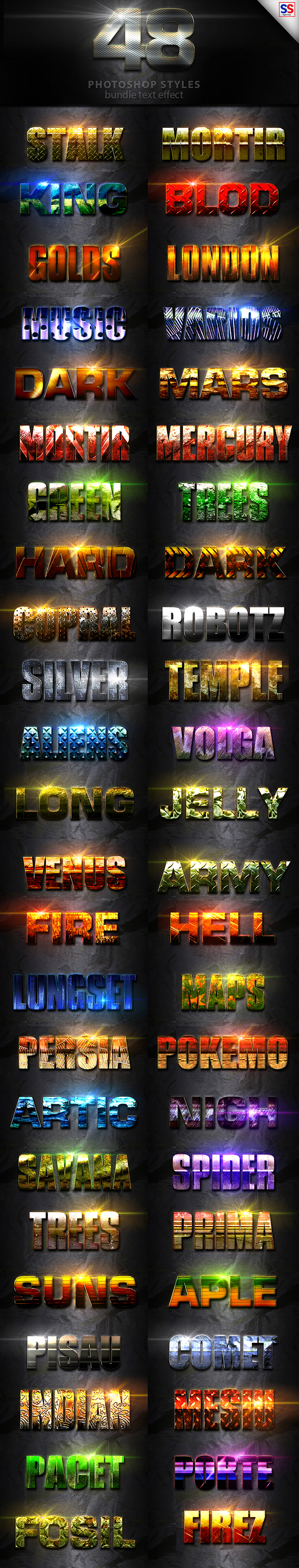 48 Text Effect Bundle Vol 2 - Text Effects Styles