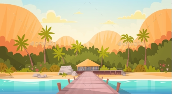 Tropical Beach With Water Bungalow House Landscape - People Characters
